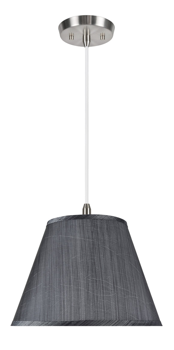 # 72185-11 One-Light Hanging Pendant Ceiling Light with Transitional Hardback Empire Fabric Lamp Shade, Grey-Black, 13