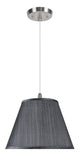 "# 72185-11 One-Light Hanging Pendant Ceiling Light with Transitional Hardback Empire Fabric Lamp Shade, Grey-Black, 13"" width"