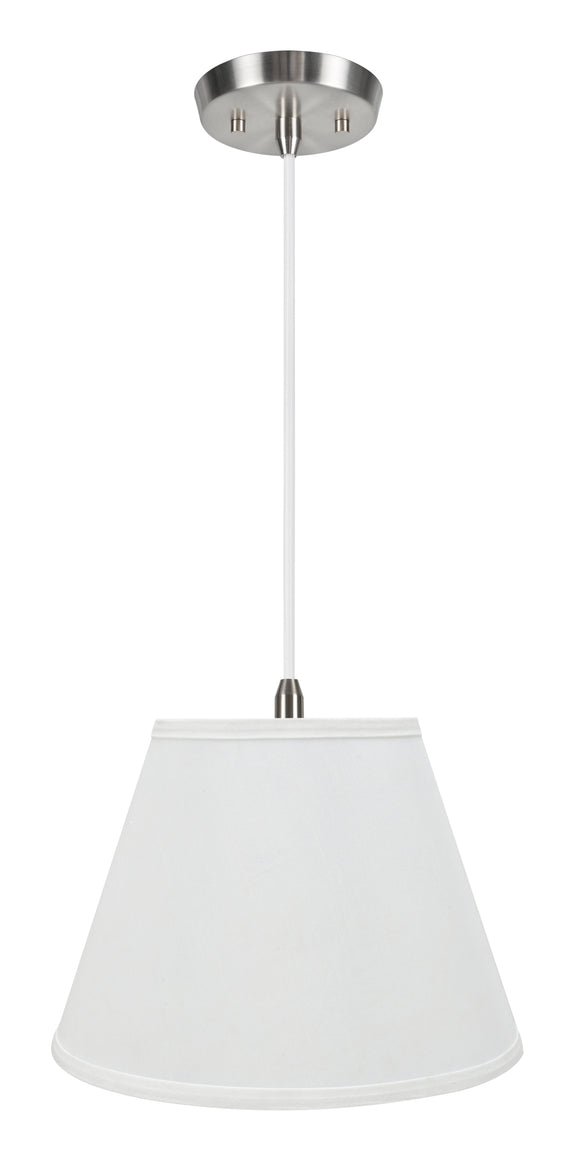 # 72188-11 One-Light Hanging Pendant Ceiling Light with Transitional Hardback Empire Fabric Lamp Shade, White, 13