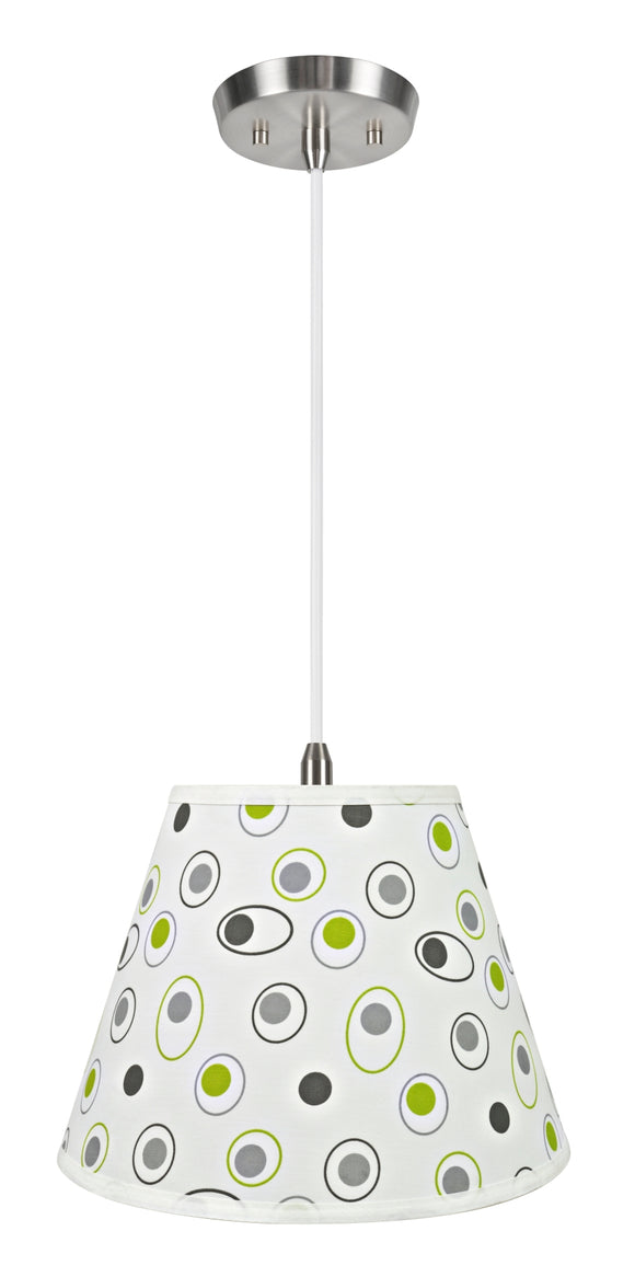 # 72189-11 One-Light Hanging Pendant Ceiling Light with Transitional Hardback Empire Fabric Lamp Shade, Off White, 13