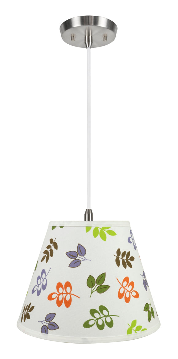 # 72190-11 One-Light Hanging Pendant Ceiling Light with Transitional Hardback Empire Fabric Lamp Shade, Off White, 13