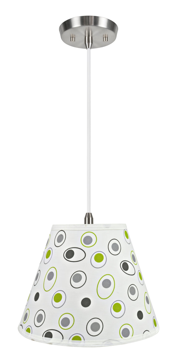 # 72199-11 One-Light Hanging Pendant Ceiling Light with Transitional Hardback Empire Fabric Lamp Shade, Off White, 12