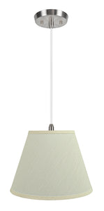 "# 72623-11 One-Light Hanging Pendant Ceiling Light with Transitional Hardback Empire Fabric Lamp Shade, Eggshell, 12"" width"