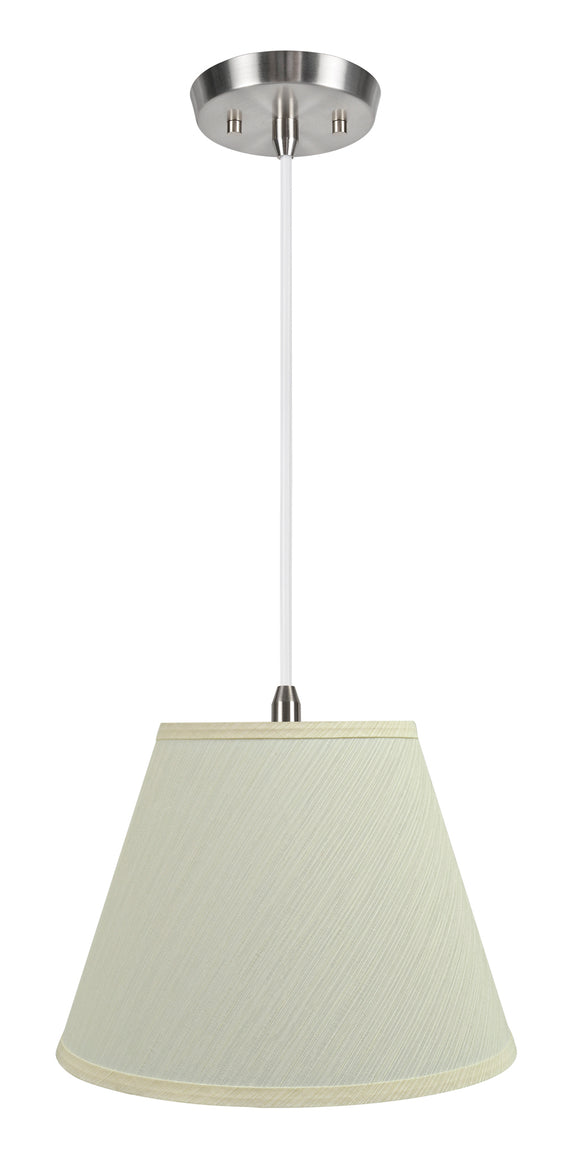 # 72623-11 One-Light Hanging Pendant Ceiling Light with Transitional Hardback Empire Fabric Lamp Shade, Eggshell, 12
