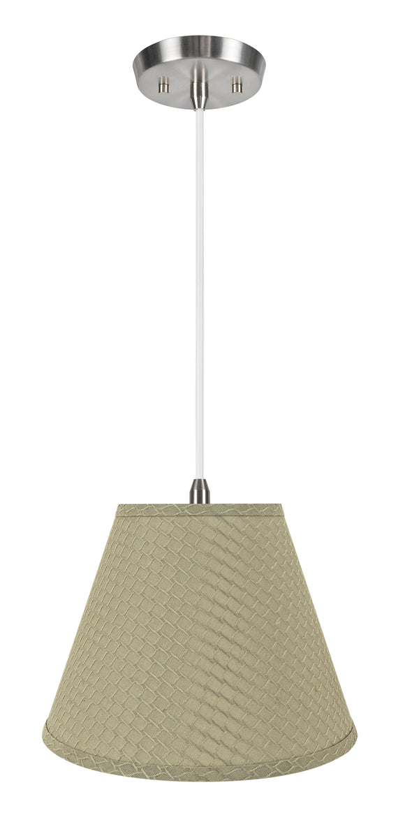 # 72624-11 One-Light Hanging Pendant Ceiling Light with Transitional Hardback Empire Fabric Lamp Shade, Sand Yellow, 12