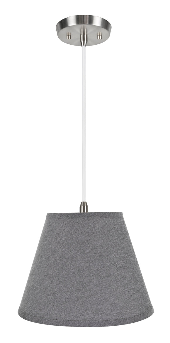 # 72625-11 One-Light Hanging Pendant Ceiling Light with Transitional Hardback Empire Fabric Lamp Shade, Grey, 12