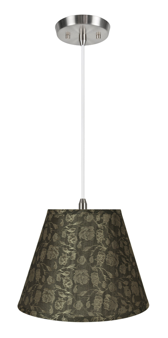 # 72626-11 One-Light Hanging Pendant Ceiling Light with Transitional Hardback Empire Fabric Lamp Shade, Light Brown, 12