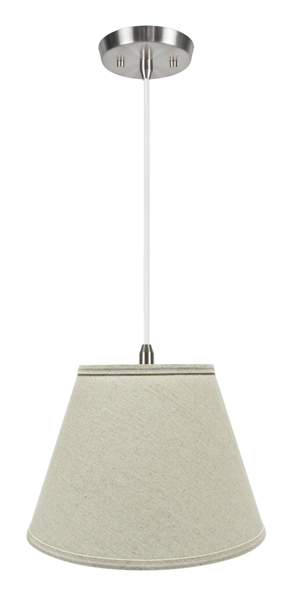 # 72681-11 One-Light Hanging Pendant Ceiling Light with Transitional Hardback Empire Fabric Lamp Shade, Light Grey, 13