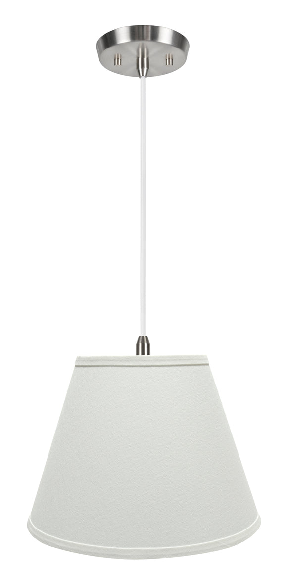# 72682-11 One-Light Hanging Pendant Ceiling Light with Transitional Hardback Empire Fabric Lamp Shade, White, 13
