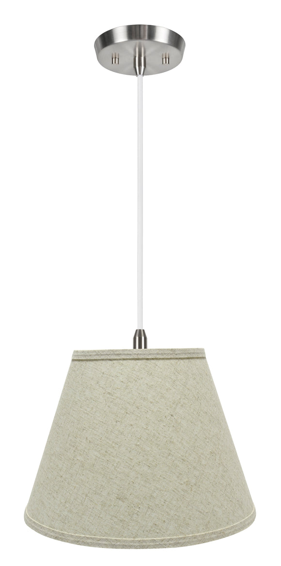 # 72683-11 One-Light Hanging Pendant Ceiling Light with Transitional Hardback Empire Fabric Lamp Shade, Beige, 13