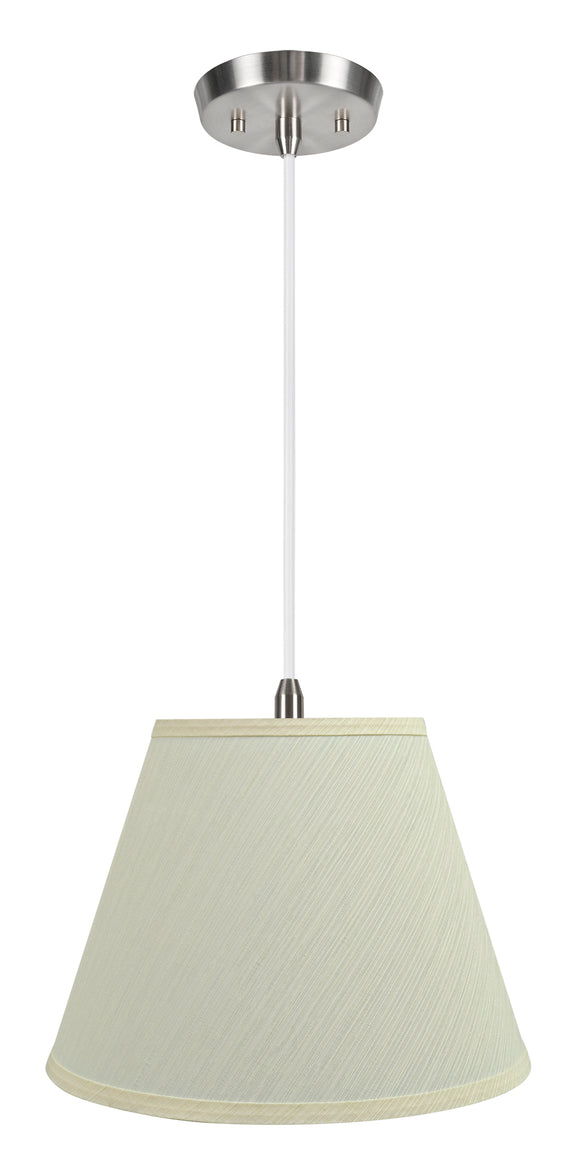 # 72684-11 One-Light Hanging Pendant Ceiling Light with Transitional Hardback Empire Fabric Lamp Shade, Eggshell, 13