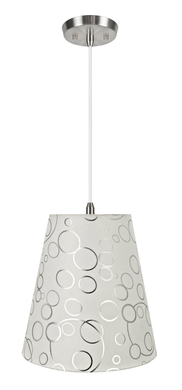 # 72891-11 One-Light Hanging Pendant Ceiling Light with Transitional Hardback Empire Fabric Lamp Shade, White, 12
