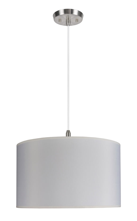 # 71007 Two-Light Hanging Pendant Ceiling Light with Transitional Hardback Drum Fabric Lamp Shade in Off White, 17