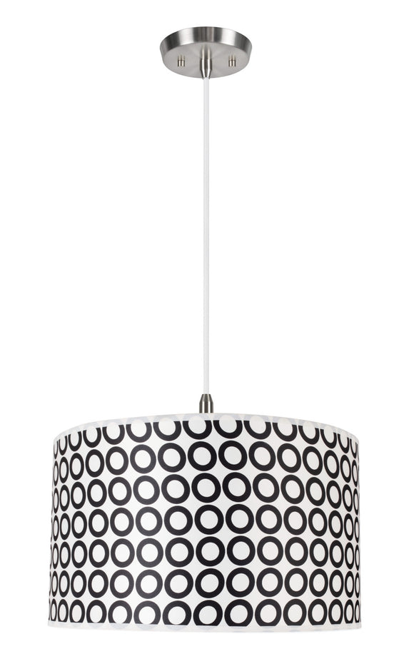 # 71008 2-Light Hanging Pendant Ceiling Light, Transitional Hardback Drum Fabric Shade, Black/White Geometric, 17