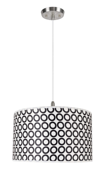 "# 71008 2-Light Hanging Pendant Ceiling Light, Transitional Hardback Drum Fabric Shade, Black/White Geometric, 17"" W"