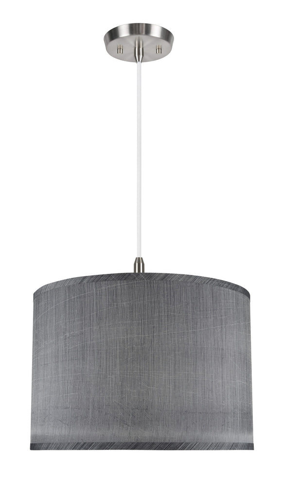 # 71013  2-Light Hanging Pendant Ceiling Light with Transitional Hardback Drum Fabric Lamp Shade, Grey & Black, 16