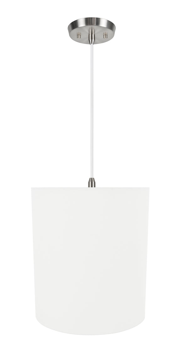 # 71281-11 One-Light Hanging Pendant Ceiling Light with Transitional Hardback Drum Fabric Lamp Shade, White, 14