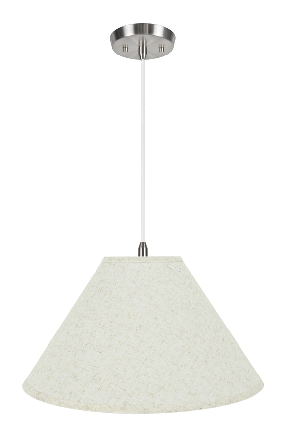 # 72202-11 Two-Light Hanging Pendant Ceiling Light with Transitional Hardback Empire Fabric Lamp Shade, Flaxen, 12