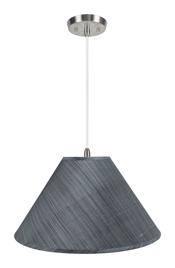 # 72203-11 Two-Light Hanging Pendant Ceiling Light with Transitional Hardback Empire Fabric Lamp Shade, Grey-Black, 19