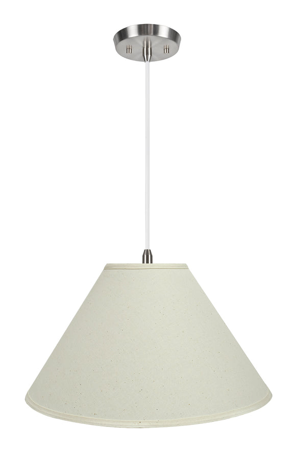 # 72204-11 Two-Light Hanging Pendant Ceiling Light with Transitional Hardback Empire Fabric Lamp Shade, Off White, 19