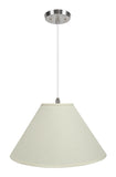 "# 72204-11 Two-Light Hanging Pendant Ceiling Light with Transitional Hardback Empire Fabric Lamp Shade, Off White, 19"" width"