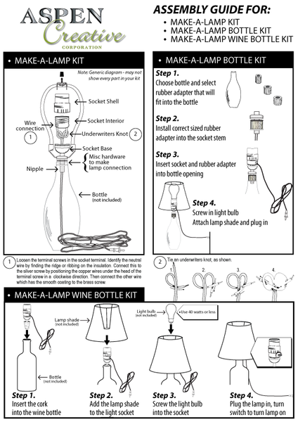 # 21018 Make-A-Bottle Lamp Kit in Polished Brass, 2 Pack