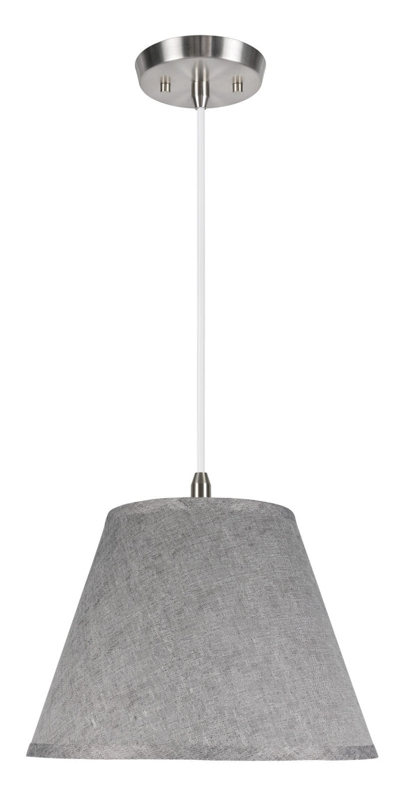 # 72181  1-Light Hanging Pendant Ceiling Light with Transitional Hardback Fabric Lamp Shade, Grey Textured Fabric, 13