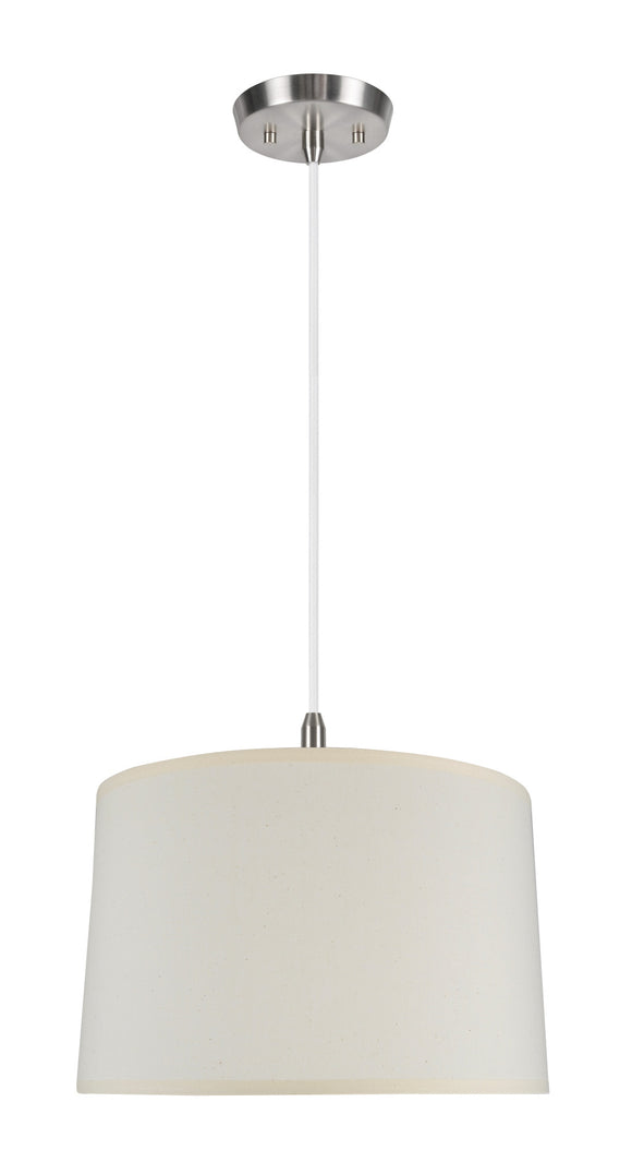 # 72251 2-Light Hanging Pendant Ceiling Light with Transitional Hardback Fabric Lamp Shade, Off White Cotton, 18