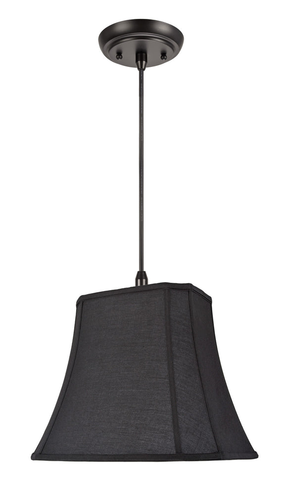 # 74046 1-Light Hanging Pendant Ceiling Light with Transitional Oblong Cut Corner Bell Shade, Black Cotton Fabric, 16