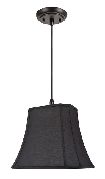 "# 74046 1-Light Hanging Pendant Ceiling Light with Transitional Oblong Cut Corner Bell Shade, Black Cotton Fabric, 16"" W"