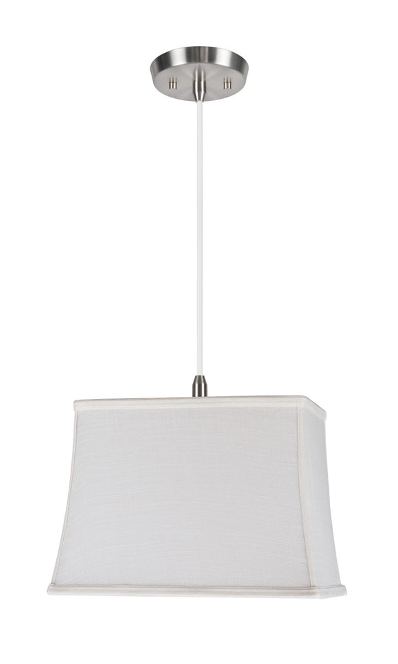 # 72036  1-Light Hanging Pendant Ceiling Light with Transitional Rectangular Hardback Fabric Lamp Shade, Off White Linen, 6