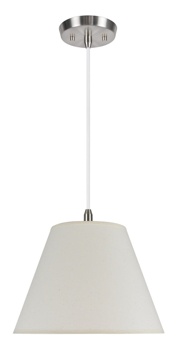 # 72030  1-Light Hanging Pendant Ceiling Light with Transitional Hardback Fabric Lamp Shade, in an Ivory Cotton, 12