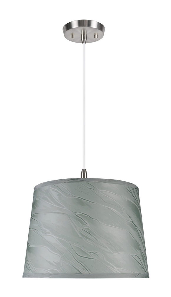 # 72143  1-Light Hanging Pendant Ceiling Light with Transitional Hardback Fabric Lamp Shade, Light Green, Textured, 14
