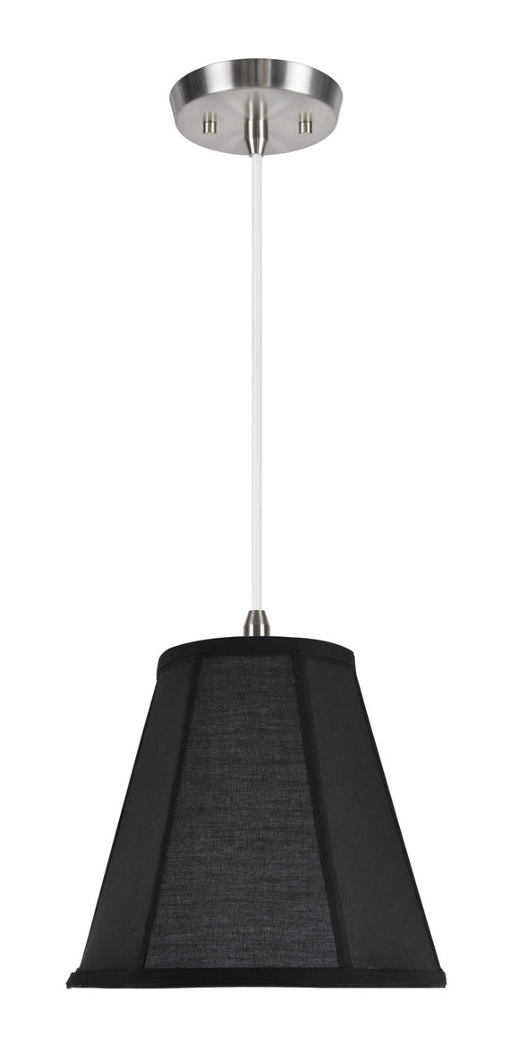 # 75006  1-Light Hanging Pendant Ceiling Light with Transitional Bell Fabric Lamp Shade, in Black Cotton Fabric, 10