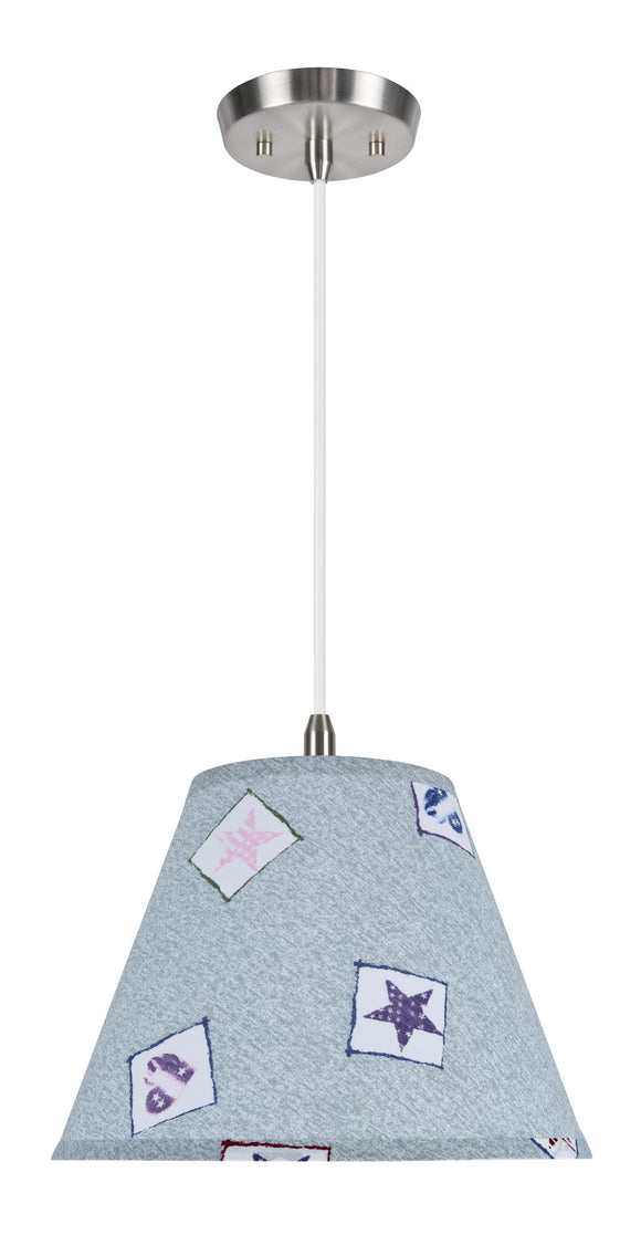 # 72191 1-Light Hanging Pendant Light with Transitional Hardback Lamp Shade, Light Blue - Transitional Patriotic Accents, 12