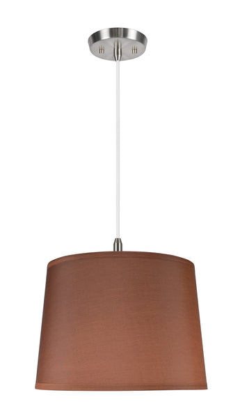 "# 72145 1-Light Hanging Pendant Ceiling Light with Transitional Hardback Fabric Lamp Shade, in Dark Brown Sateen, 14"" W"