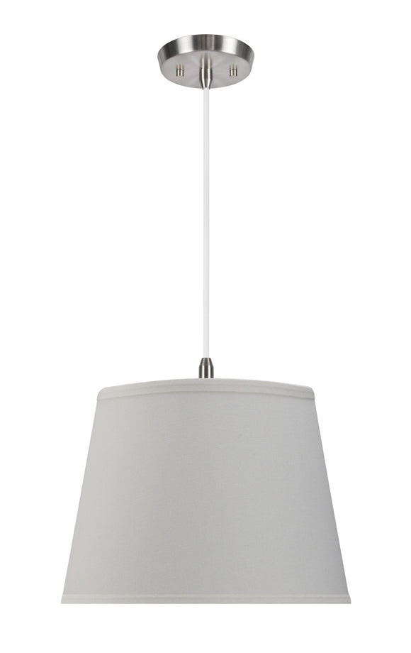 # 72056 2-Light Hanging Pendant Ceiling Light with Transitional Hardback Fabric Lamp Shade, Off White Linen, 15