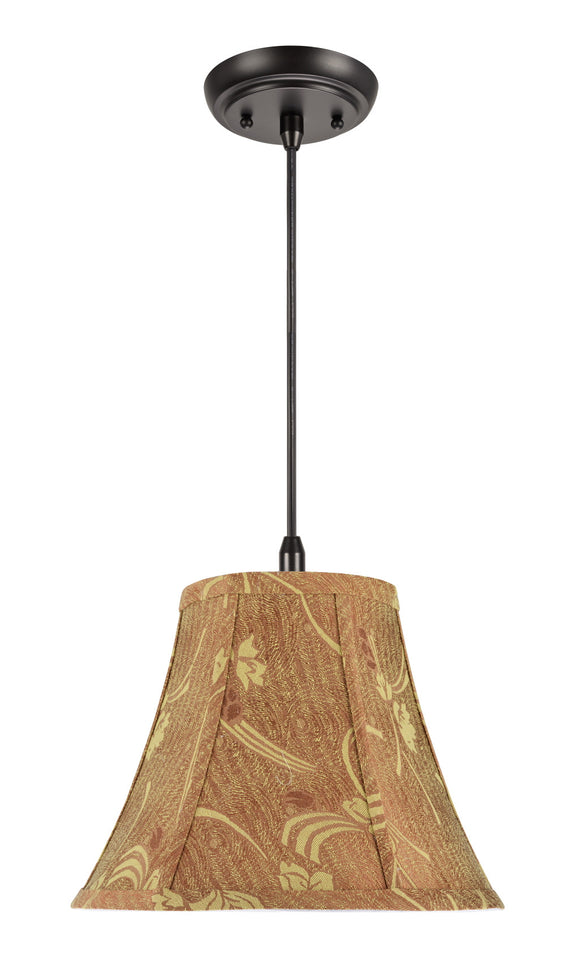 # 70156 1-Light Hanging Pendant Ceiling Light with Transitional Bell Fabric Lamp Shade, Copper with Neutral Accents, 12