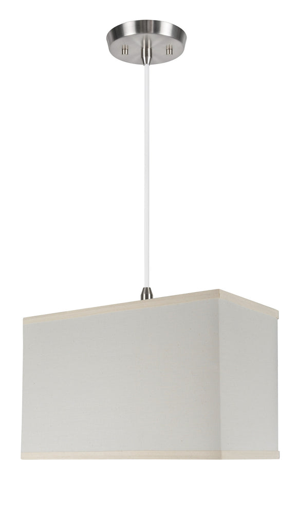# 76002 1-Light Hanging Pendant Ceiling Light with Transitional Rectangular Hardback Fabric Lamp Shade, Off White Cotton, 8