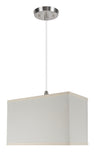 "# 76002 1-Light Hanging Pendant Ceiling Light with Transitional Rectangular Hardback Fabric Lamp Shade, Off White Cotton, 8"" W"