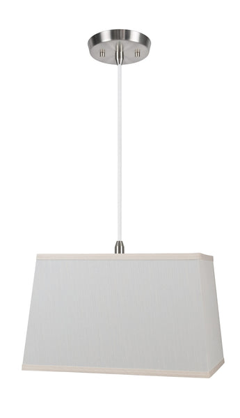 "# 72049  1-Light Hanging Pendant Ceiling Light with Transitional Rectangular Hardback Fabric Lamp Shade, Off White Fabric, 8"" W"