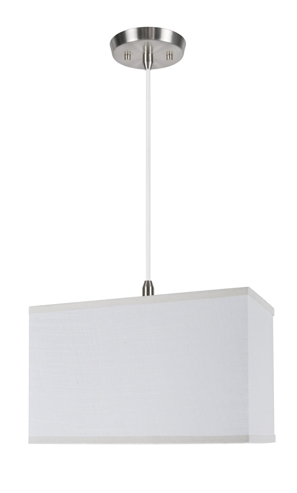 # 72035  1-Light Hanging Pendant Ceiling Light with Transitional Rectangular Hardback Fabric Lamp Shade, Off White Linen, 8