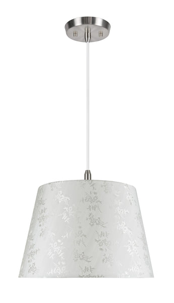 "# 72019  2-Light Hanging Pendant Light with Transitional Hardback Fabric Lamp Shade, in Butter Crème Floral Design, 15"" W"