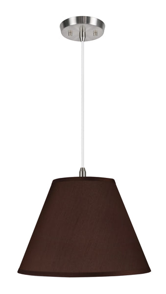 "# 72151  2-Light Hanging Pendant Ceiling Light with Transitional Hardback Fabric Lamp Shade, Brown Faux Silk, 15"" W"