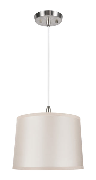 "# 72221  1-Light Hanging Pendant Ceiling Light with Transitional Hardback Fabric Lamp Shade, in Skin Sateen Fabric, 12"" W"