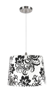 "# 72141  1-Light Hanging Pendant Ceiling Light with Transitional Hardback Fabric Lamp Shade, Off White with Design, 14"" W"