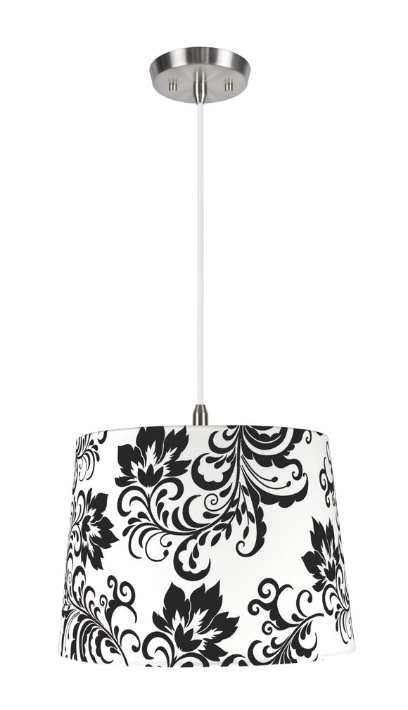 # 72141  1-Light Hanging Pendant Ceiling Light with Transitional Hardback Fabric Lamp Shade, Off White with Design, 14