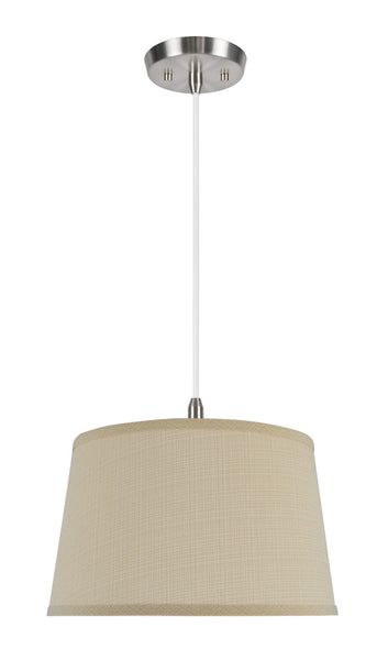 "# 72231 1-Light Hanging Pendant Ceiling Light with Transitional Hardback Fabric Lamp Shade, in Sand Cambric, 14"" W"