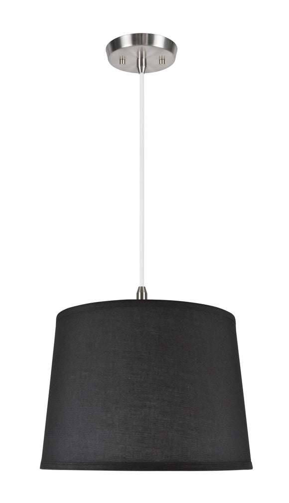 # 72149  1-Light Hanging Pendant Ceiling Light with Transitional Hardback Fabric Lamp Shade, in a Black Cotton, 14