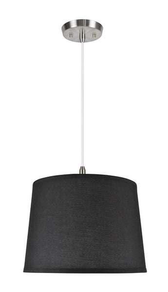 "# 72149  1-Light Hanging Pendant Ceiling Light with Transitional Hardback Fabric Lamp Shade, in a Black Cotton, 14"" W"